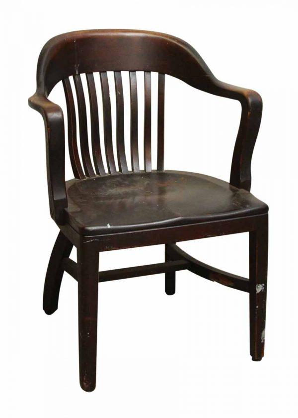 Single Dark Wood Bankers Chair