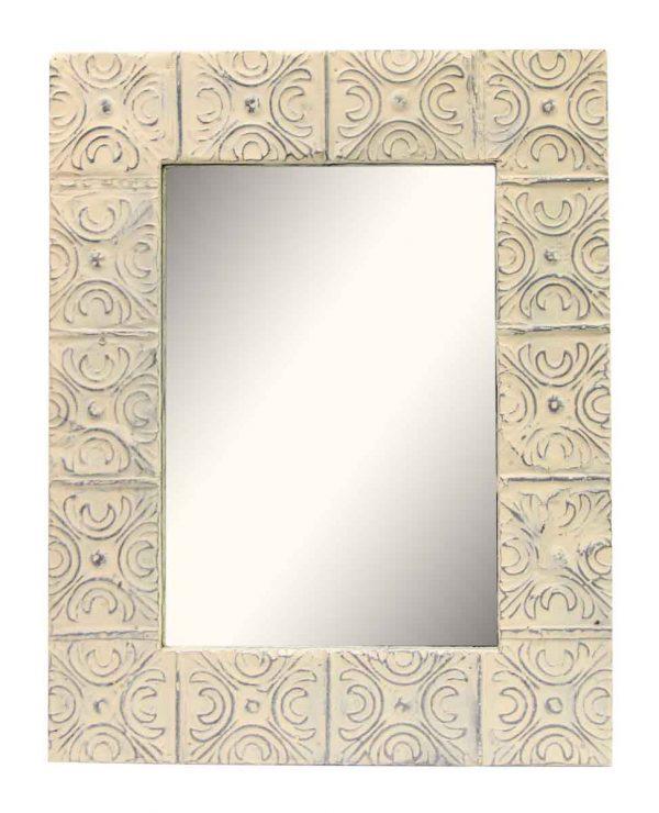 Cream Tin Mirror with Snowflake Pattern