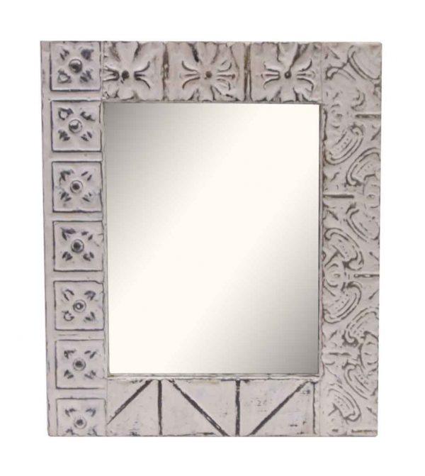 White Multi Pattern Tin Panel Mirror