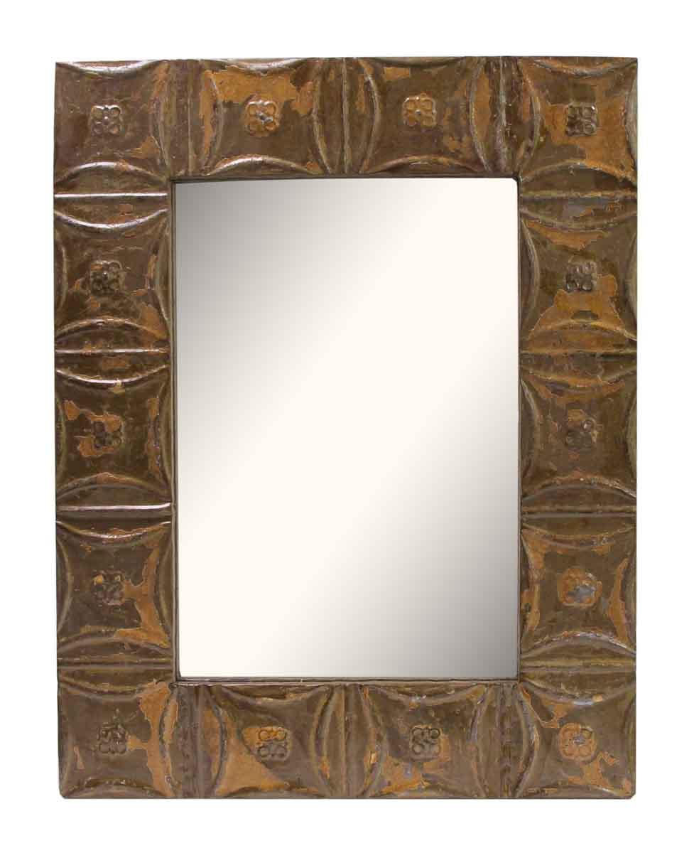Brown Snowflake Pattern Tin Panel Mirror Olde Good Things