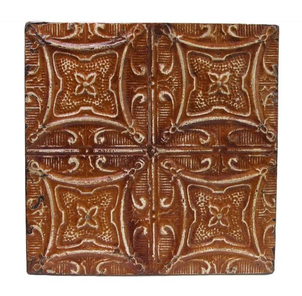 Decorative Orange Geometric Tin Panel