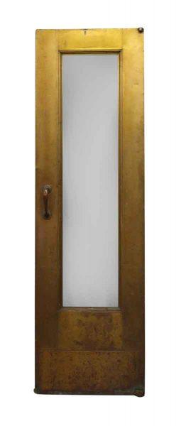 Narrow Single Glass Panel Deco Brass Door with Pivot Hinges