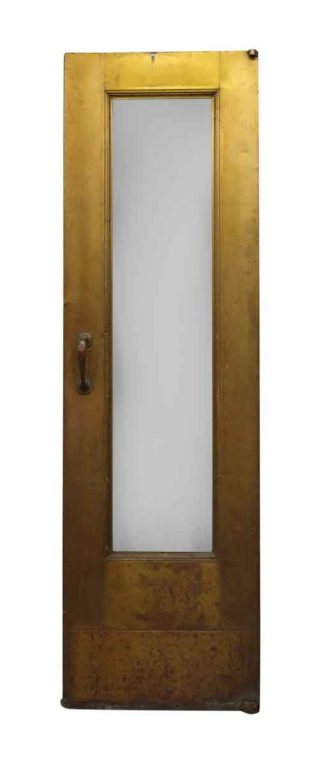 Narrow Single Gl Panel Deco Br Door With Pivot Hinges