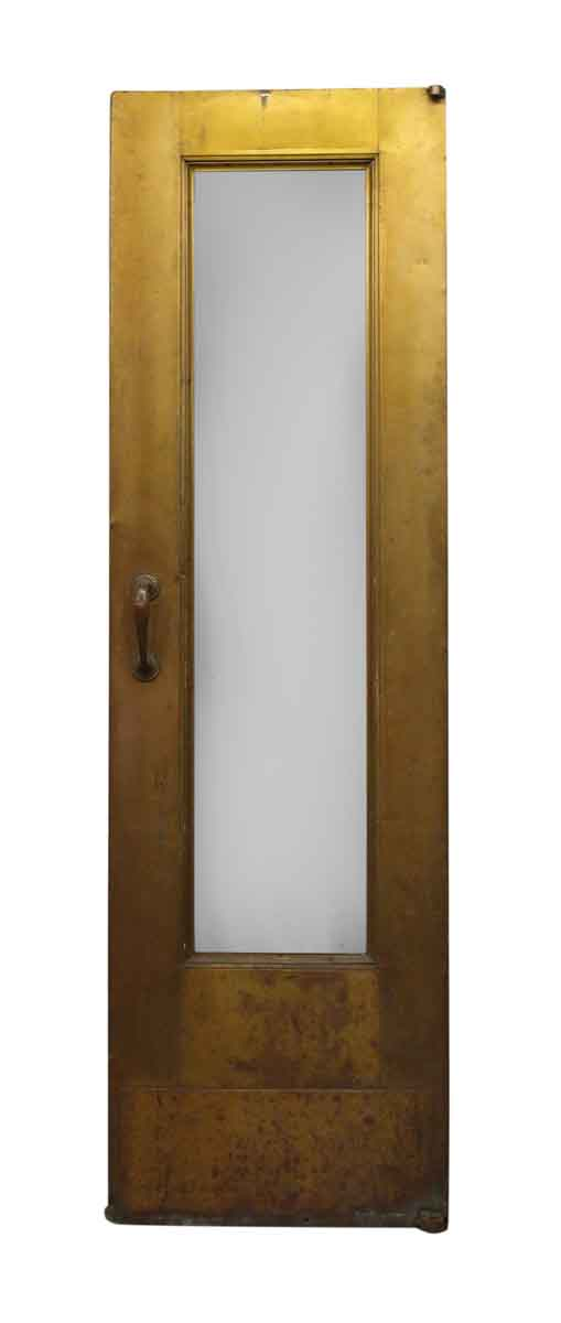 Narrow Single Glass Panel Deco Brass Door with Pivot Hinges