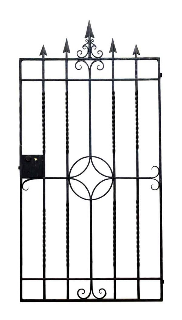Antique Simple Iron Gate with Arrow Head Finials