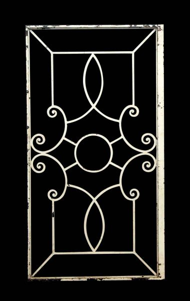 White Iron Panel with Decorative Centerpiece