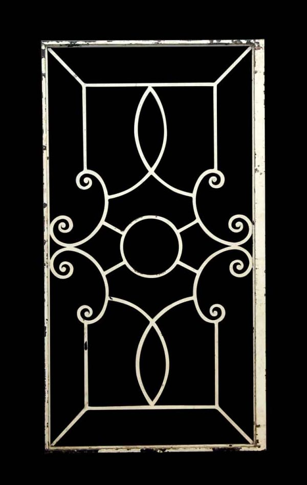White Iron Panel with Decorative Centerpiece