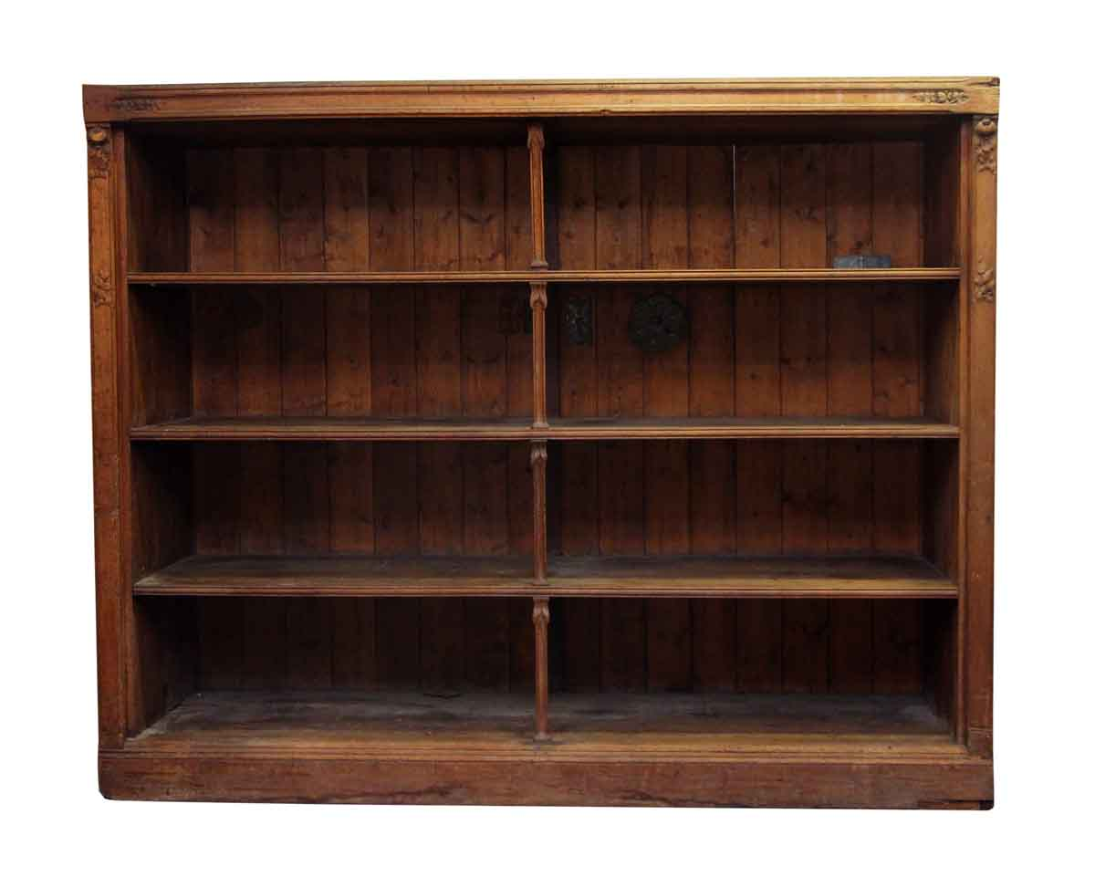 Large Wooden Bookcases ~ Large art nouveau deep display wooden shelf olde good things