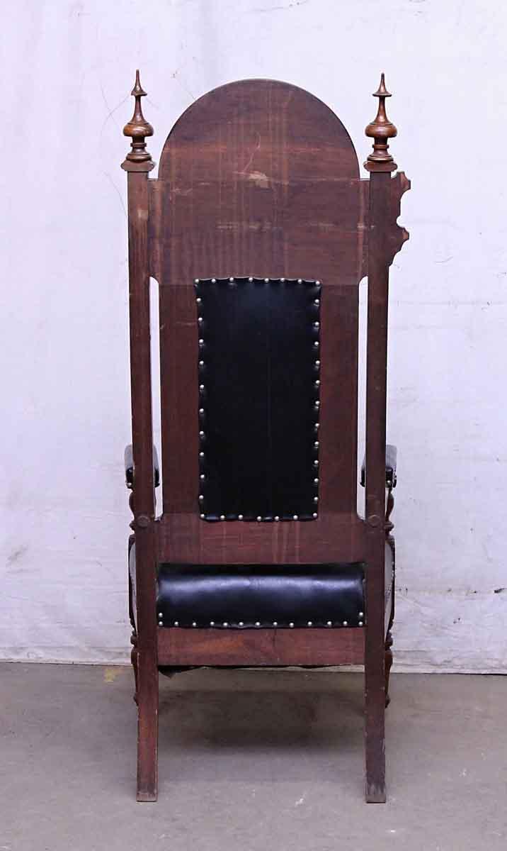 Vintage Furniture Glass Living Room Showcase Design Wood: Set Of Three Leather & Wood Masonic Chairs