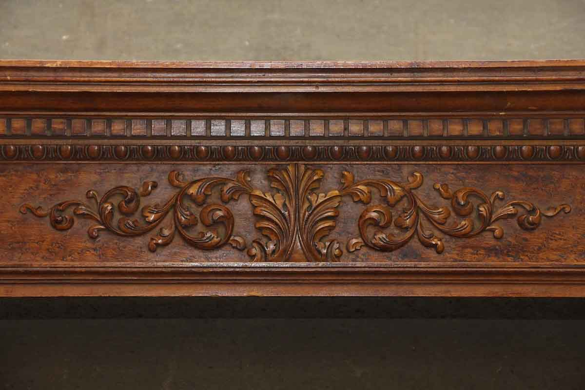 Carved maple mantel shelf with burled front olde