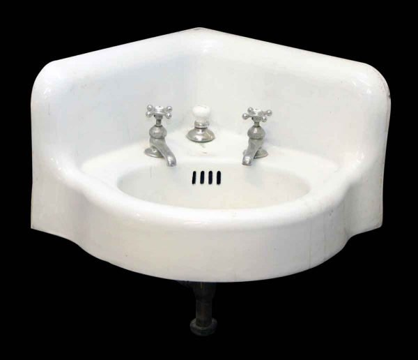 Porcelain Corner Sink with Original Hardware