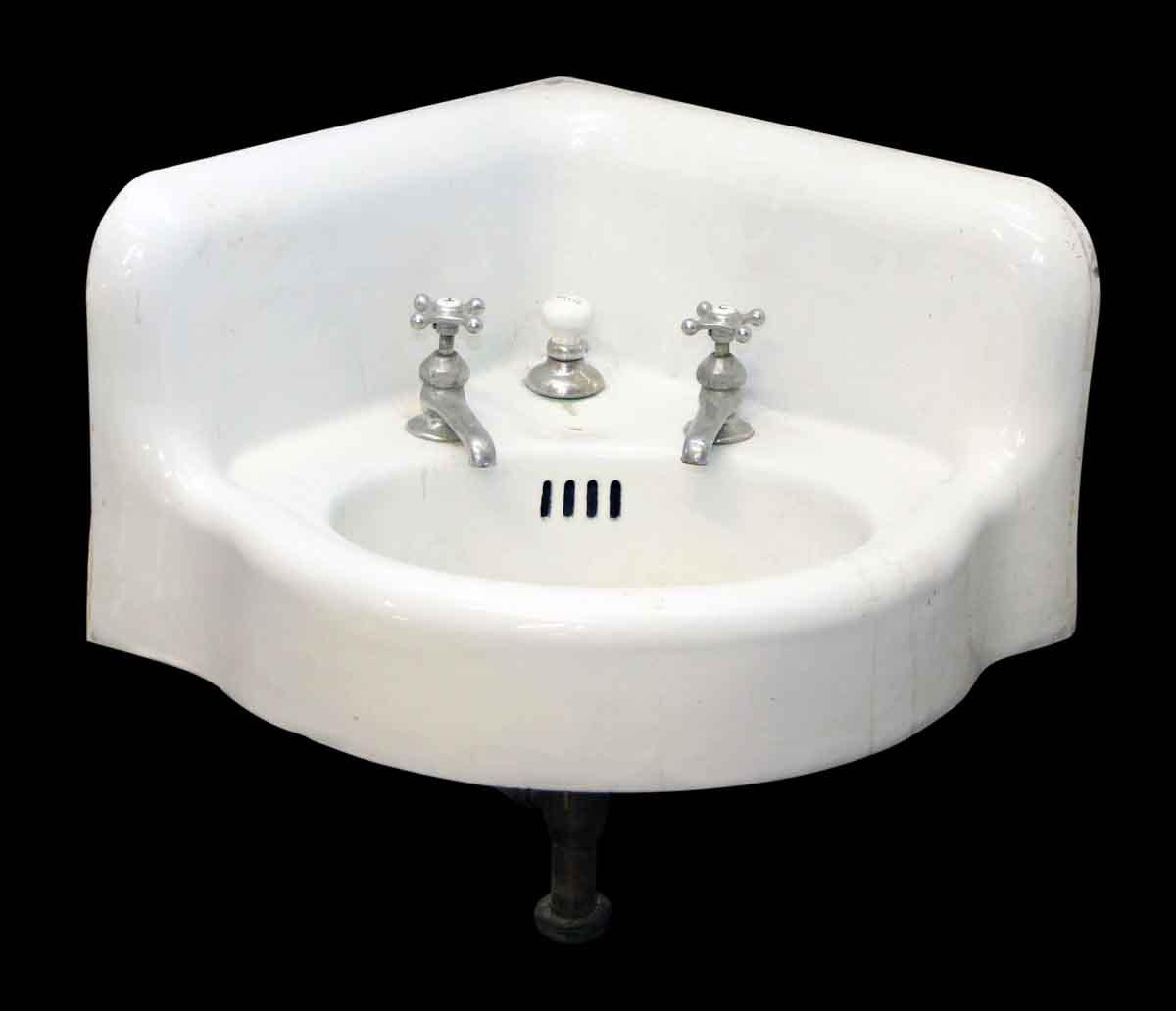 Porcelain Corner Sink With Original Hardware Olde Good