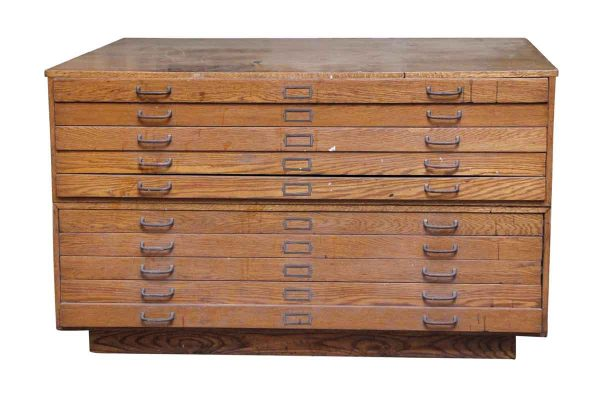 Oak Map Flat File Ten Drawer Cabinet