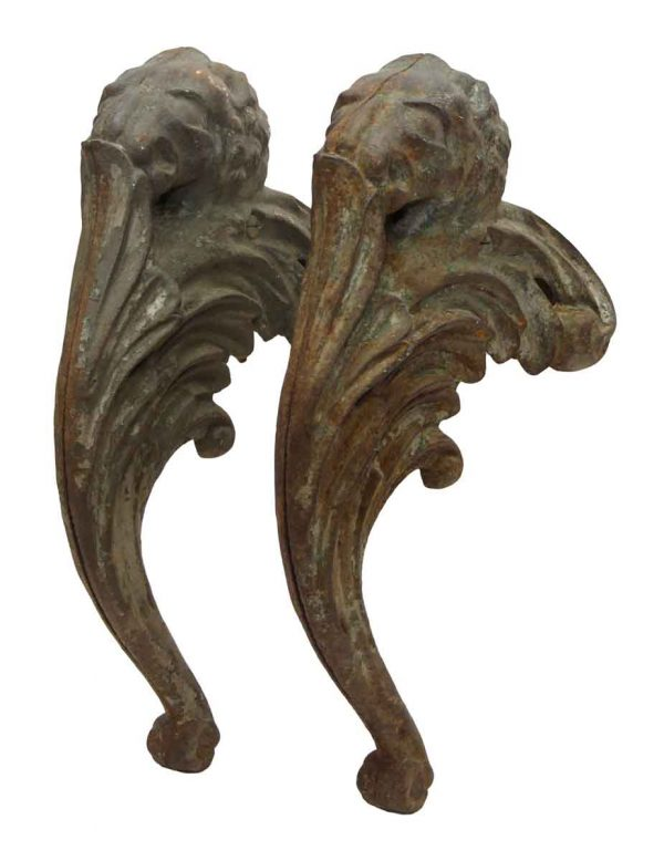 Pair of Figural Curved Rusted Metal Brackets