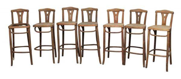 Set of Seven Bentwood Wooden Stools
