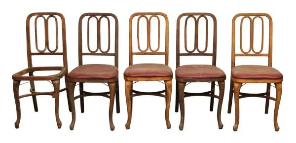 Set of Five Wooden Chairs with Art Deco Detail