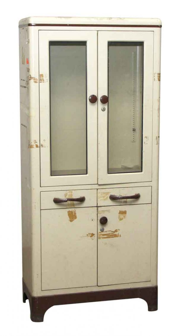 White Medical Cabinet with Art Deco Pulls
