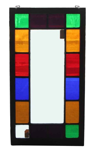 Stained Colorful Squares Glass Window