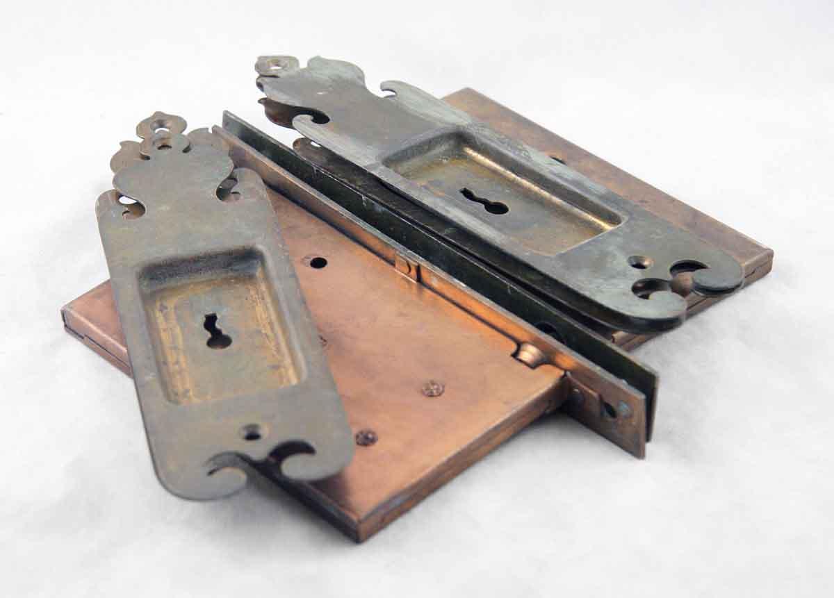 Mortise Lock Set with Pocket Door Plate