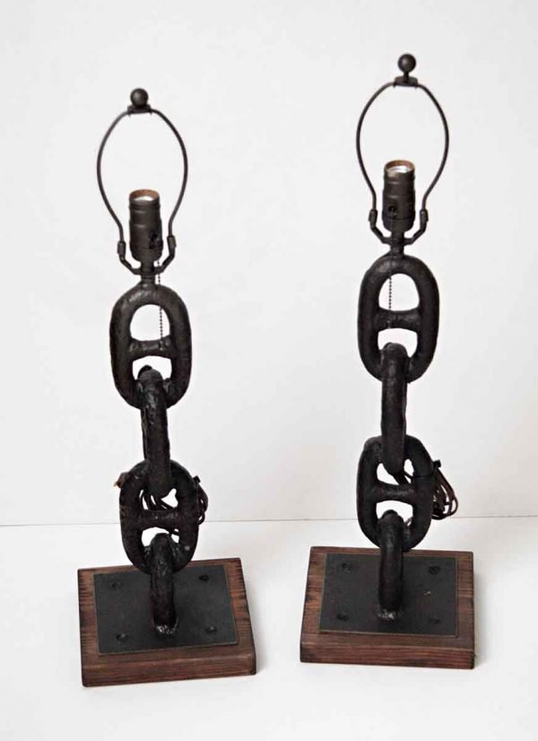 Pair of Antique Anchor Chain Lamps