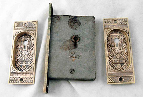 Victorian decorative pocket door hardware