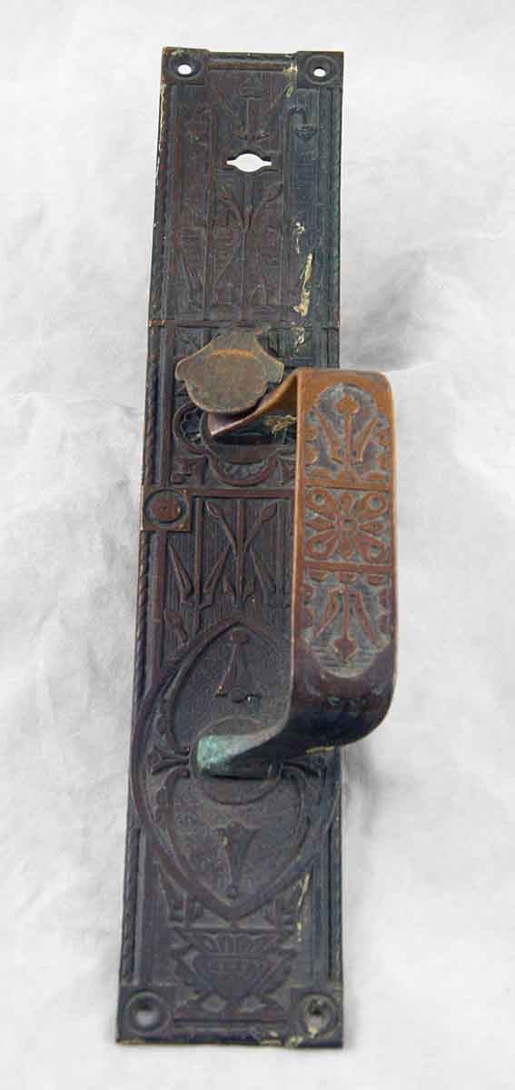 Bronze pair of Victorian backplates with thumb latch