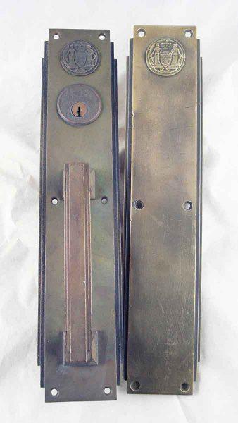 Deco Bronze Push & Pull Door Plate Set from the Philadelphia Civic Center