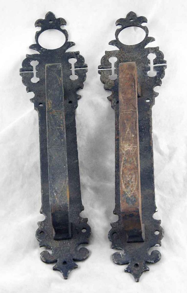 Set of early hand smith iron door pulls