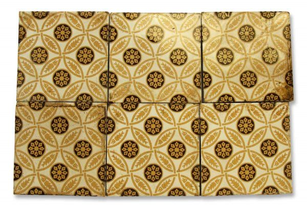 Tan Brown & White Geometric Floor Tile