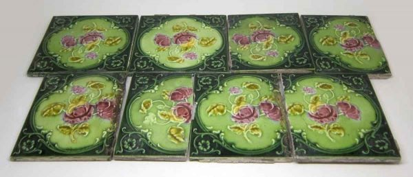 Dark Green Tile with Pink Flower Set
