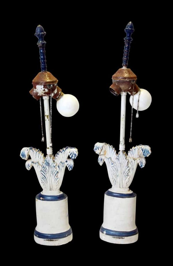Vintage Blue & White Painted Lamps