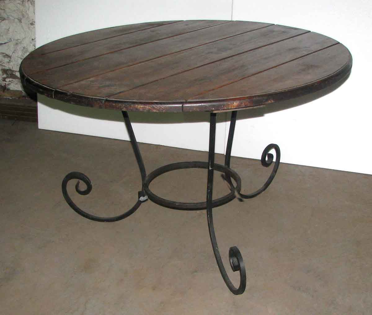 Round table with wrought iron base olde good things for Outdoor table bases wrought iron