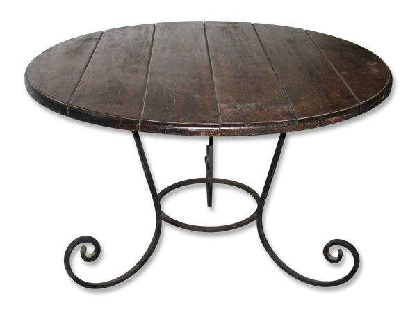 Round Table with Wrought Iron Base