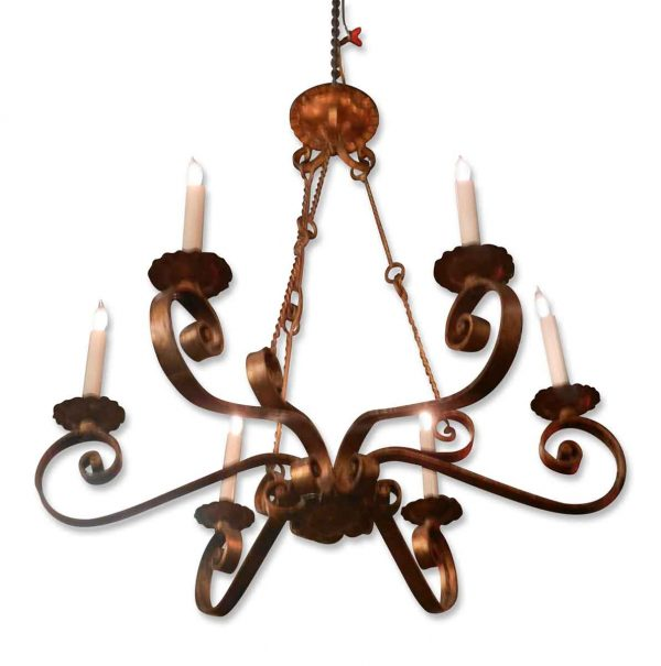 Mid Century gold leaf iron Italian chandelier