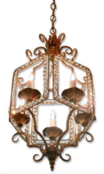 Beaded Lantern Five Candle Light Chandelier