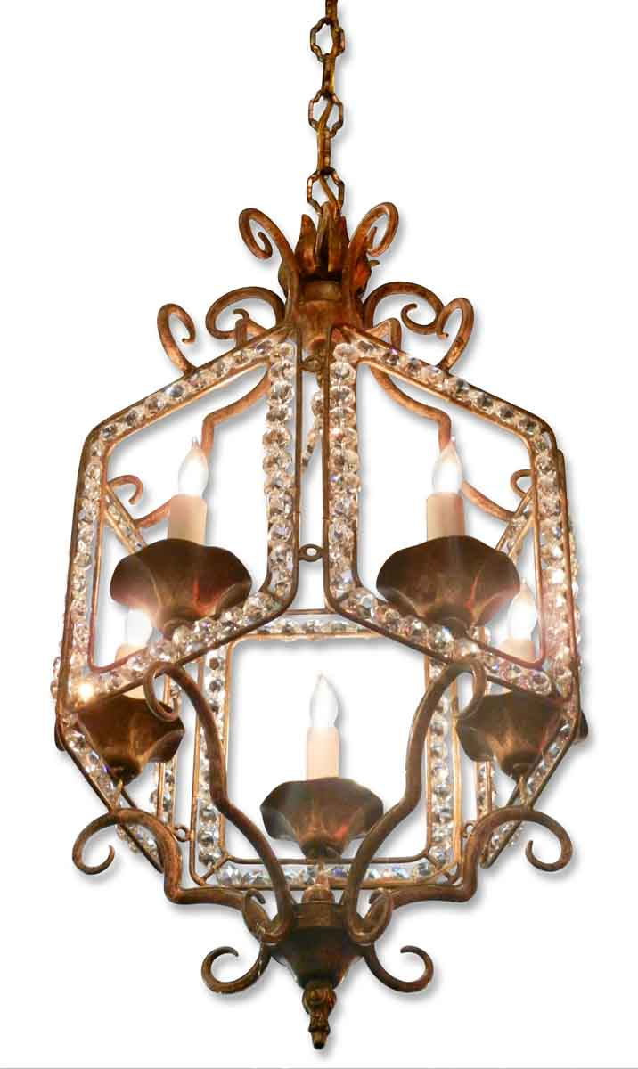 Jeweled Candle Wall Sconces : Beaded Lantern Five Candle Light Chandelier Olde Good Things