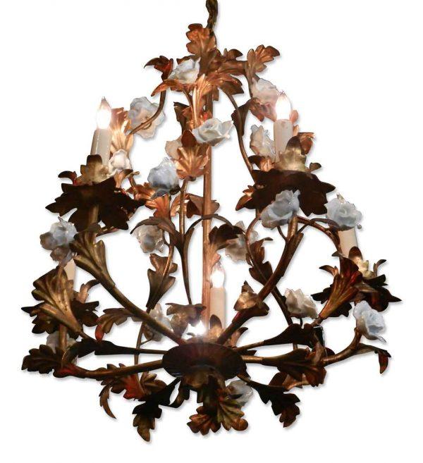 Brass leaf & porcelain floral chandelier