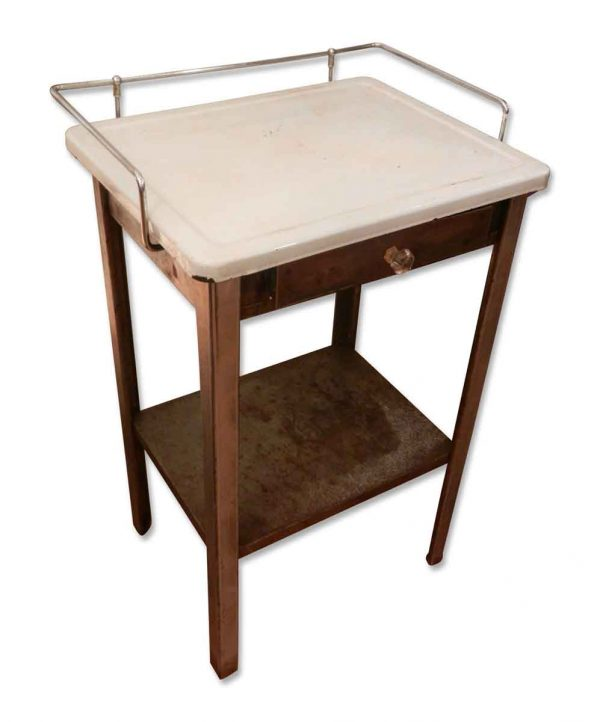 Stripped Steel White Enamel Top Medical Side Table
