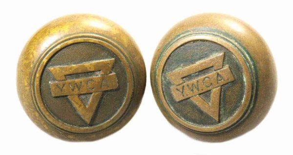 Pair of Ywca Bronze Knob Set