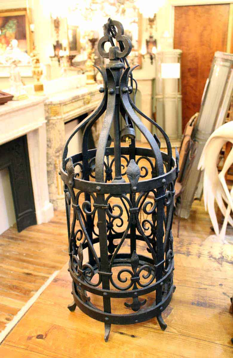 Pair Of Wrought Iron Lantern Light Fixtures Olde Good Things