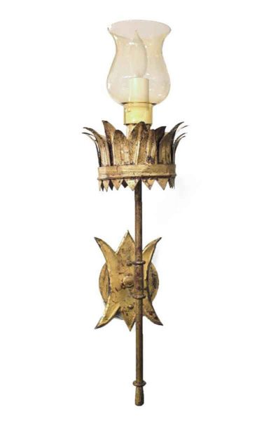 Pair of Gold Gilded Crown Base Sconces