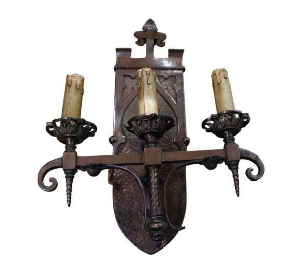 Unique Grand Tudor Style Bronze Sconce