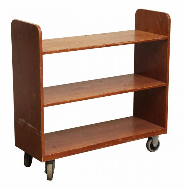 Old Library Book Cart in Dark Stain