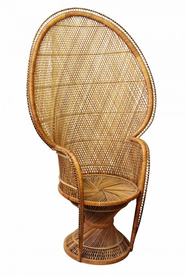 Wicker Fan Back Peacock Chair