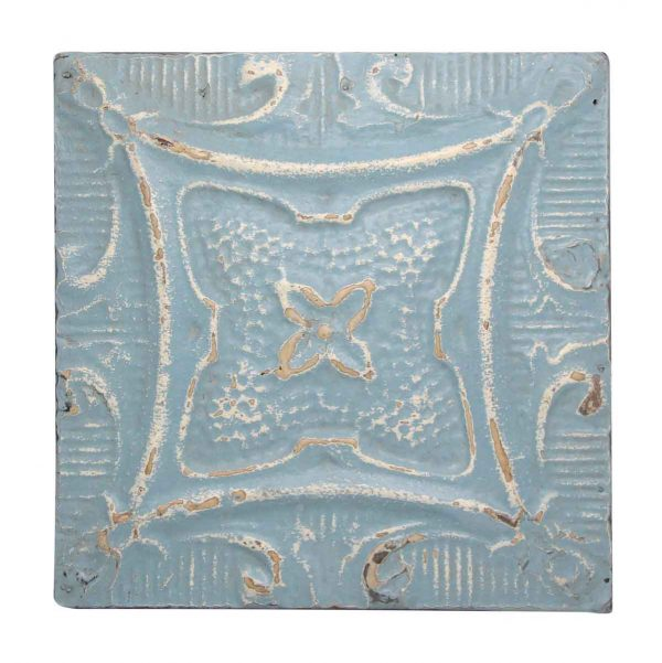 Sky Blue & White Decorative Tin Panel