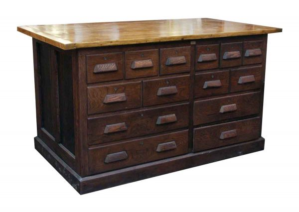 Multi Drawer Oak Work Table with Maple Top