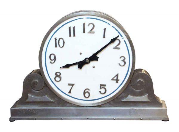 Stainless Steel & Milk Glass Face Clock