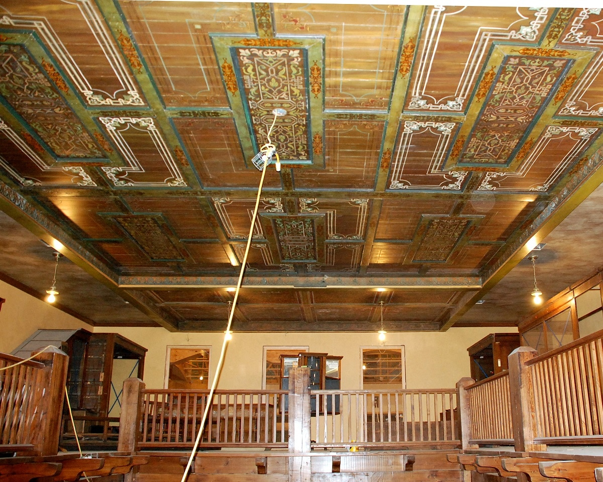 customer showcase hand stenciled wooden ceiling olde good things rh ogtstore com antique wooden ceiling tiles vintage wooden ceiling fan