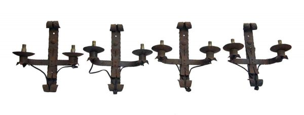 Set of Four Antique Wrought Iron Sconces - Sconces & Wall Lighting
