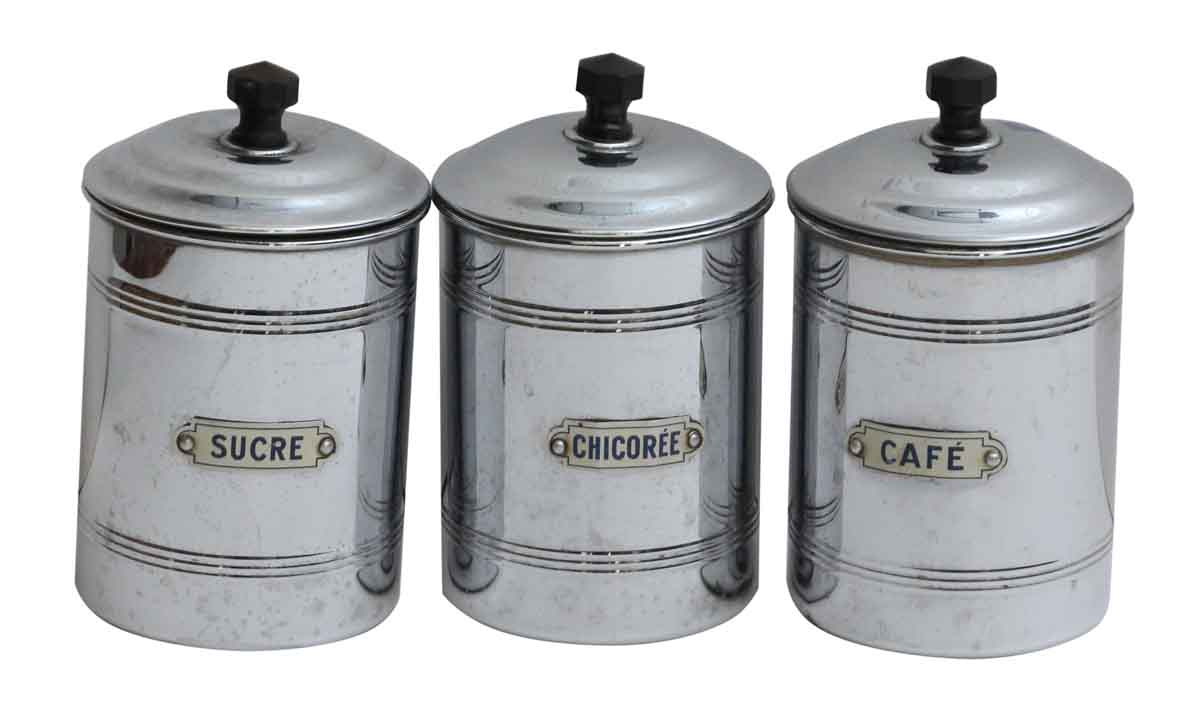 Set Of Vintage French Kitchen Canisters